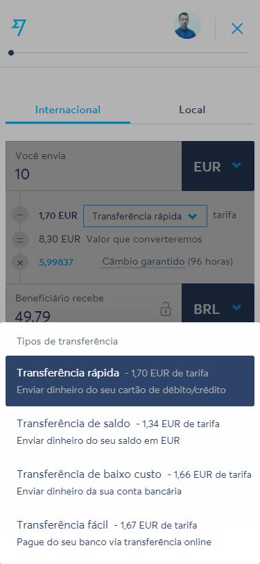 Transferwise - Step 2 - Tipos de pagamento da transferência