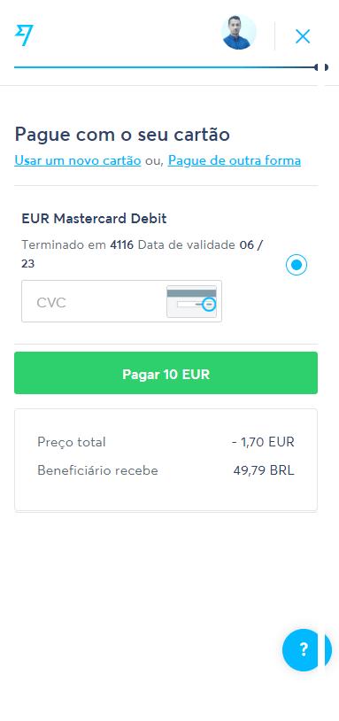 Transferwise - Step 5 - Informando os detalhes de pagamento