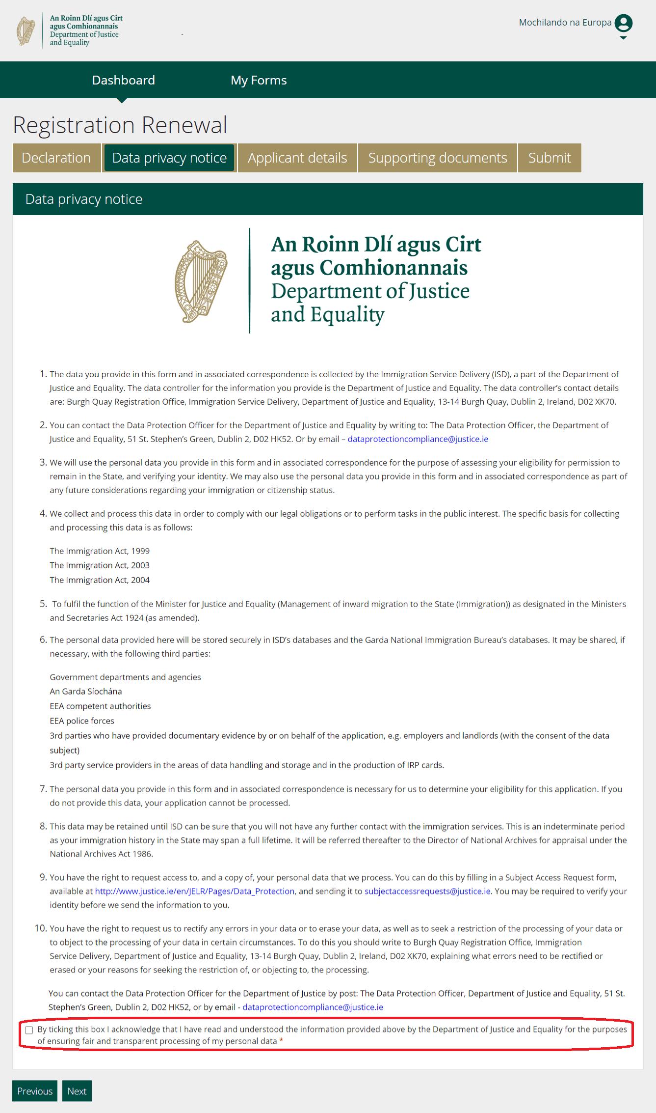 INIS STEP 5 - DECLARAÇÃO DE PRIVACIDADE DO INIS