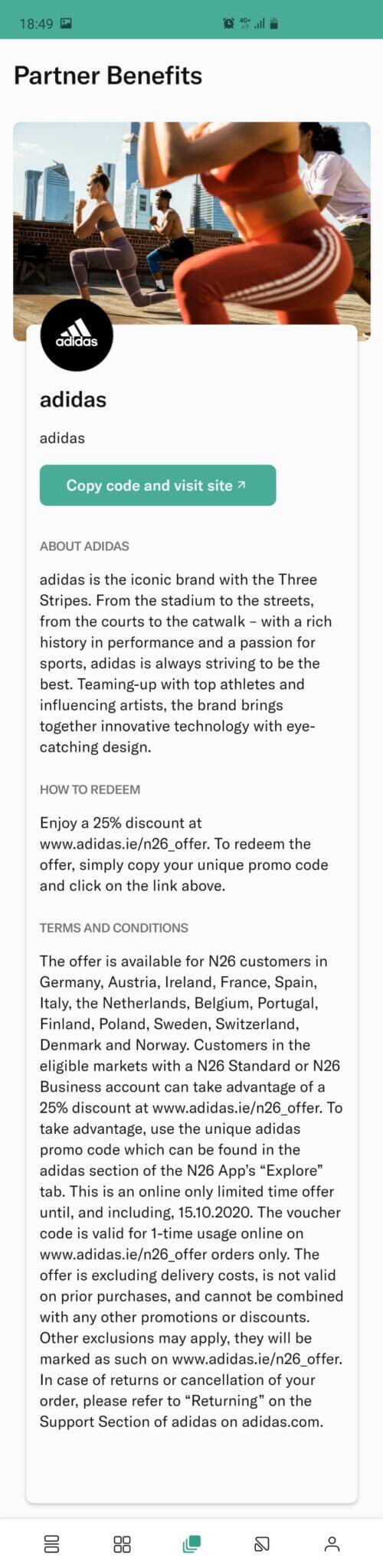 Adidas - Confirmação da promoção