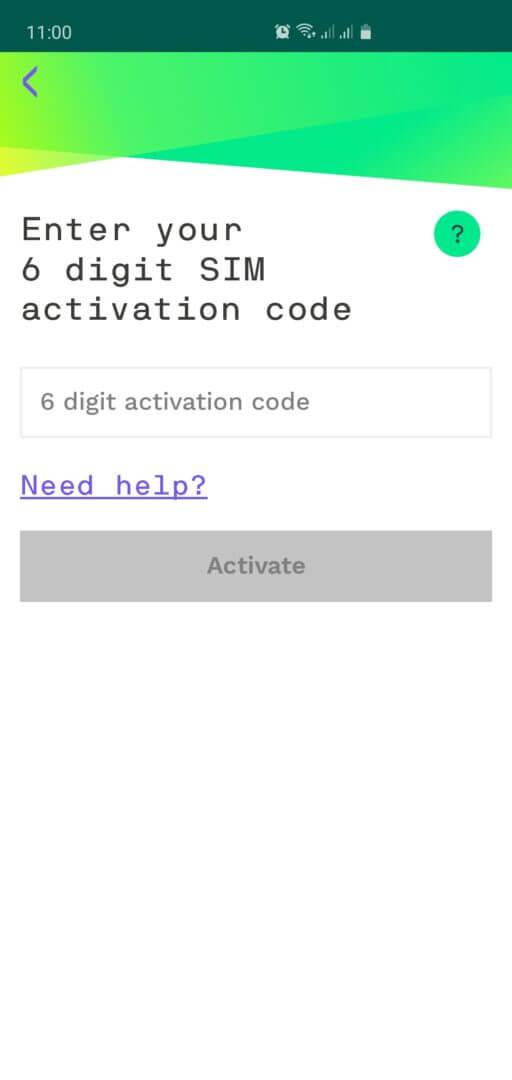 STEP 2 Inserir o número de ativação que está impresso no cartão do CHIP