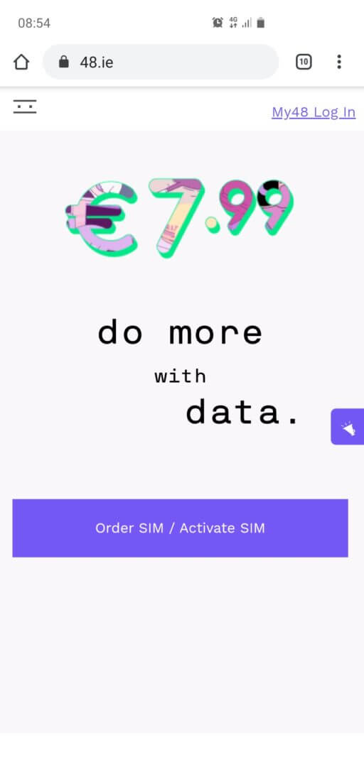 Step 1: No site oficial clique em Oder SIM/ Activate SIM