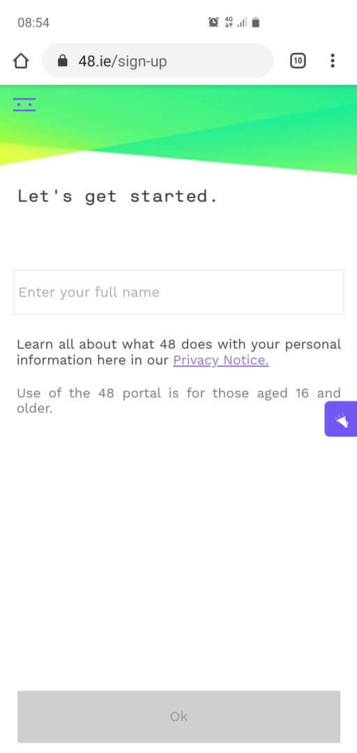 Step 2: Agora você preenche seu nome e sobrenome