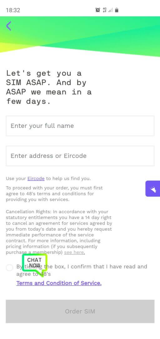 Step 7: É hora de informar o seu endereço para a entrega do SIM