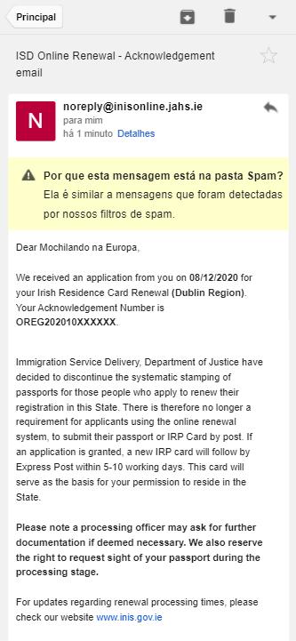 INIS Online - Step 11 - Email da imigração confirmando a aplicação