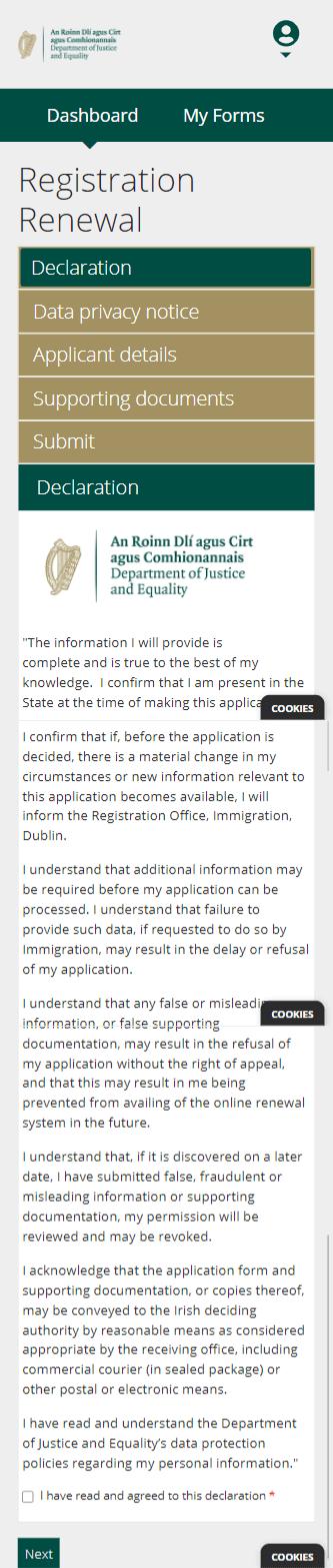 INIS Online - Step 4 - Declaração dos dados verdadeiros