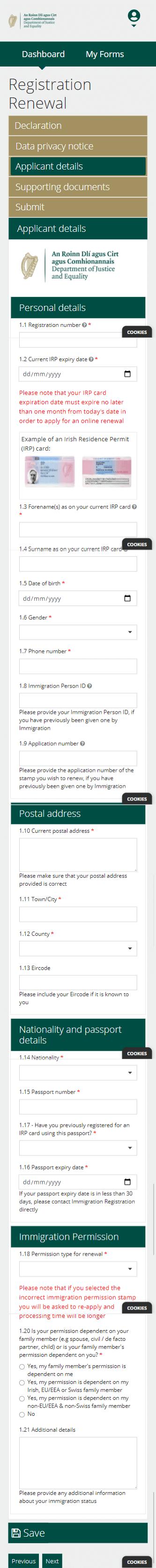 INIS Online - Step 6 - Dados para o visto