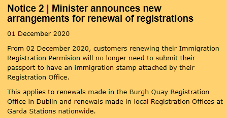 Notice 2 | Minister announces new arrangements for renewal of registrations via INIS