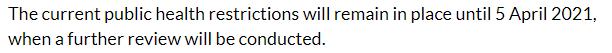 Website do Governo Irlandês informando sobre a extensão do Level 5 até abril de 2021.
